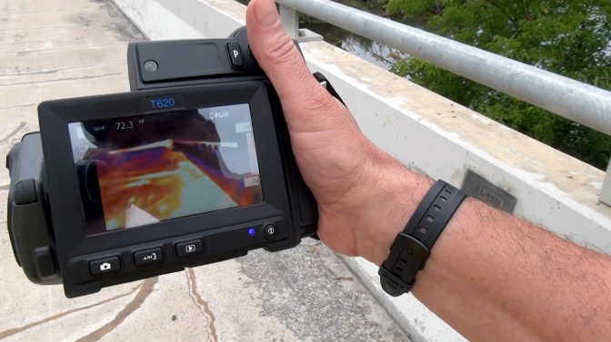 Using an infrared camera to inspect a bridge deck