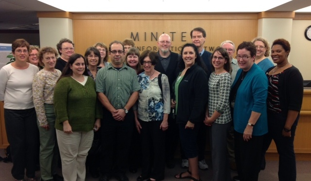 Photo of transportation librarians standing in a group at Minitex