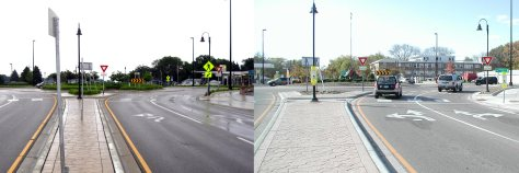 These before and after photos show the original fish-hook style pavement markings, left, which were replaced with a more traditional design. (Photos courtesy of the city of Richfield)