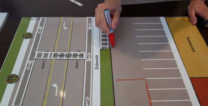 This engagement tool used by the Mid-Ohio Regional Planning Council in its complete streets workshop, allowed participants to explore various roadway design features.