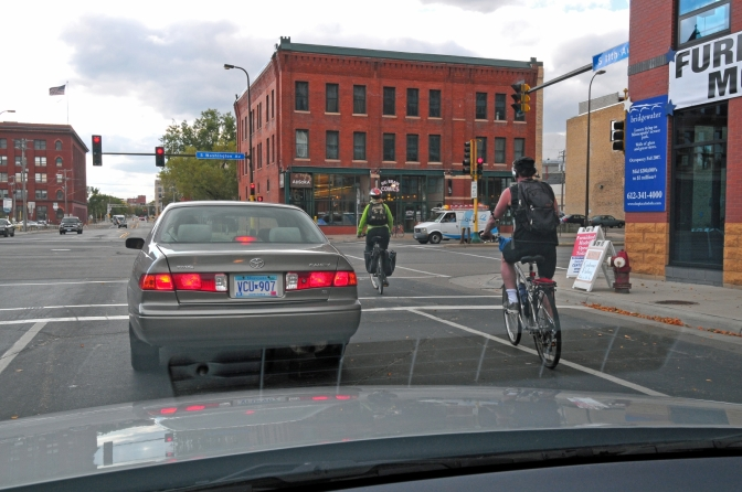 Driver's view of bicyclist in bike lane