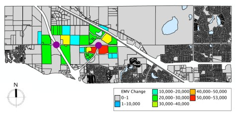 This map projects the anticipated increase in estimated market value (EMV Change) of parcels near Highway 610 that will result from completion of the highway and construction of exits at the two locations marked in purple. The impacted parcels are currently vacant, farmland or residential.