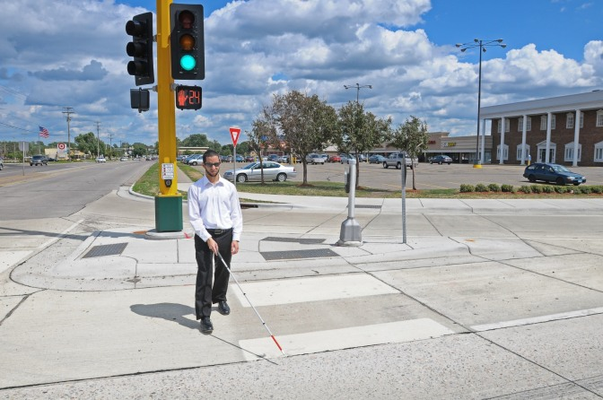 blind pedestrian in crosswalk