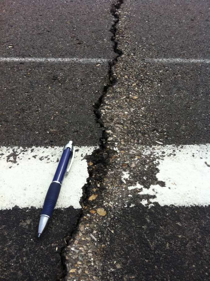 When the temperature drops, pavement tries to shrink, creating cracks that allow water to seep in and eventually cause roadbed deterioration and potholes.