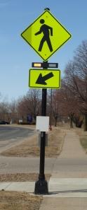 A pedestrian crossing control device.
