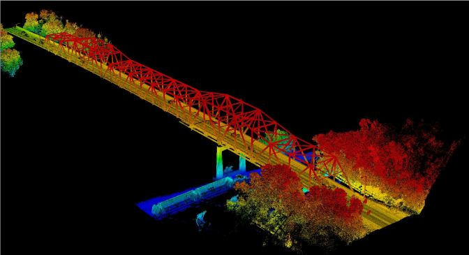 LiDAR image of the Highway 63 Bridge in Red Wing, Minnesota.