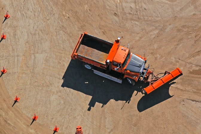 MnDOT snow plow during snow plow operator training at Camp Ripley. (Photo by Dave Gonzalez)