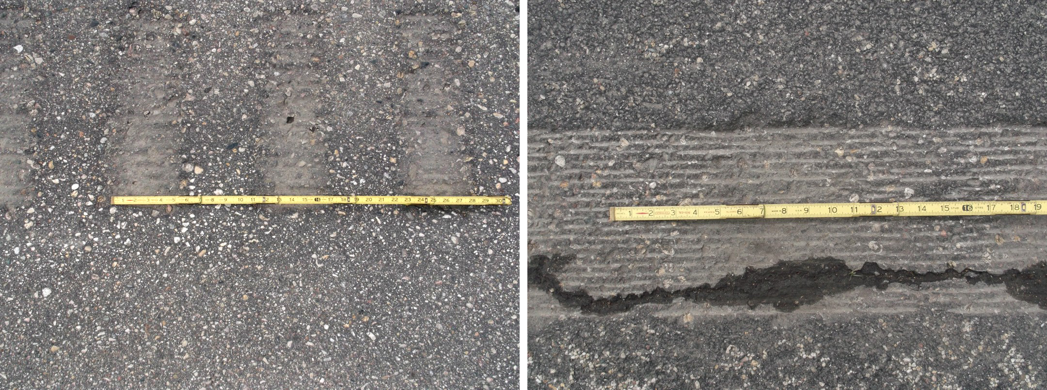 The Minnesota rumble strip, left, and California rumble strip, right.