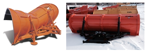 Half of the reversible batwing-style plow, pictured at left, was combined with half of the reversible bulldozer-style plow, pictured at right.