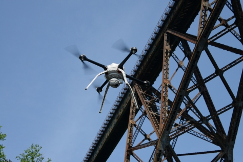 MnDOT is researching how data and images collected by drones, such as the Aeryon Skyranger shown here, could aid bridge inspectors.
