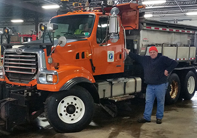 Darryl Oeltjenbruns, snowplow driver in District 7, operates the only driver assist system, or DAS, equipped snowplow in the state. The system helps snowplow operators see road alignments and features such as turn lanes, guardrails and road markings. (Photo by Chase Fester)