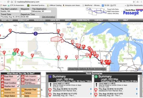 A map of possible routes from Milwaukee going west past North Dakota, with boxes the user can check to show Road Work, Weather Alerts, Road Conditions, and other features of the route.