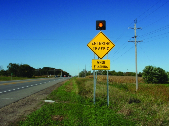"RICWS ""entering traffic when flashing"" sign"