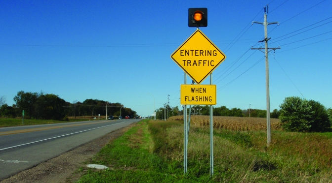 "RICWS ""entering traffic when flashing"" sign"