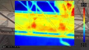 Thermal image of a bridge deck taken by a drone.