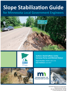 Cover of Slope Stabilization Guide for Minnesota Local Government Engineers
