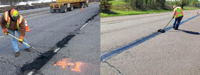 Two images of workers patching potholes