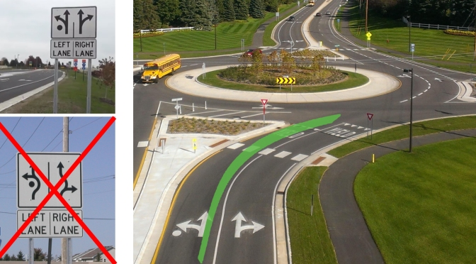 Three images that the differences between standard arrow signs and fish-hook arrow signs, both used in roundabouts