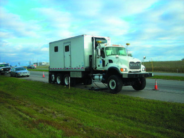 cone penetration vehicle along roadway