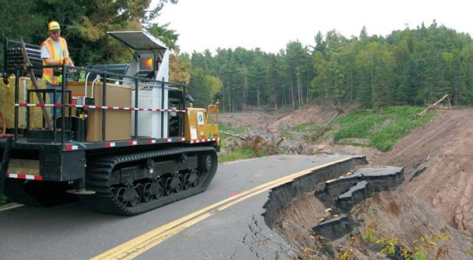 cone penetration vehicle on washed out roadway