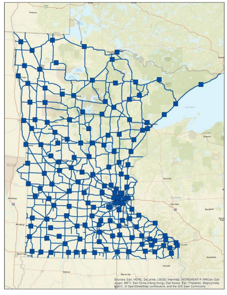 A map of Minnesota indicates the location of each of MnDOT's 137 truck stations with a blue square and of major highway routes connecting the stations, also shown in blue.