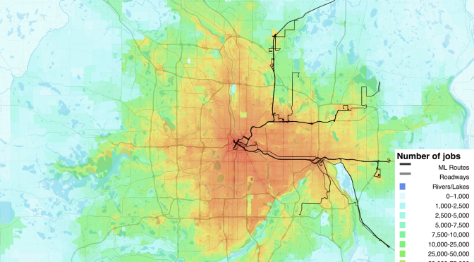 This map of I-35W and north I-94 shows how job accessibility via transit intensifies as riders get closer to downtown Minneapolis.