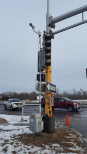 A camera and an inductive loop data box at the U.S. Highway 169 and Trunk Highway 282 intersection.