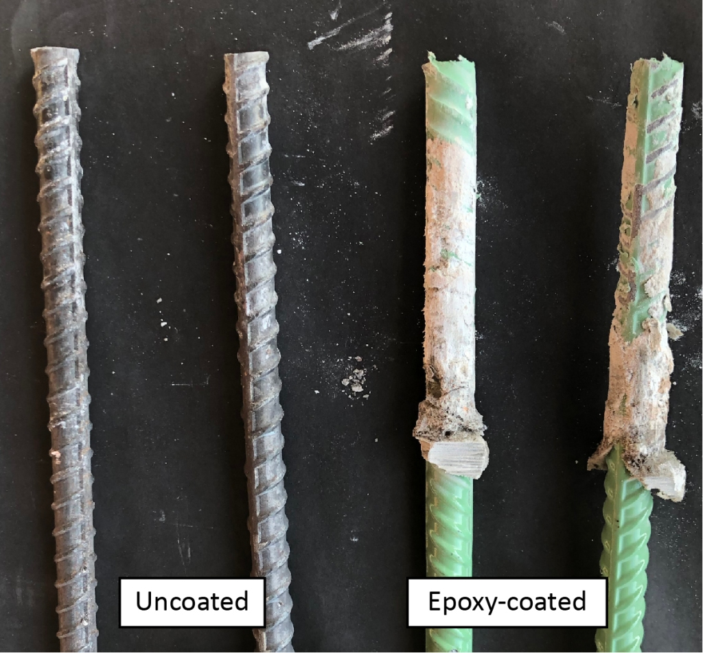 In tests of adhesives and reinforcement steel, epoxy-coated rebar and uncoated rebar showed high pullout strength when extracted from a concrete test slab.