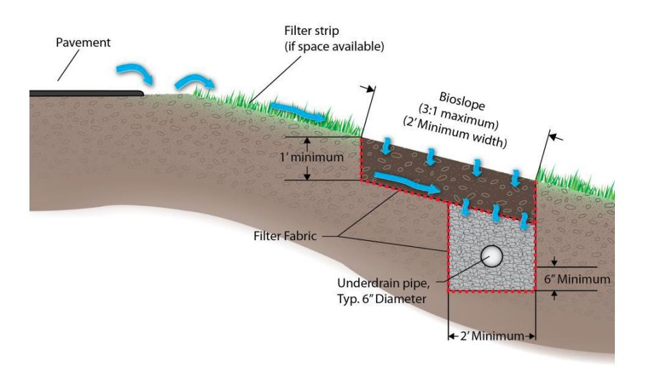 A cross section drawing of an engineered bioslope design shows the edge of the pavement, a filter strip of grass at the top of the slope and the section of filter material with an underdrain surrounded by small rock buried beneath it. Blue arrows show the flow of water.