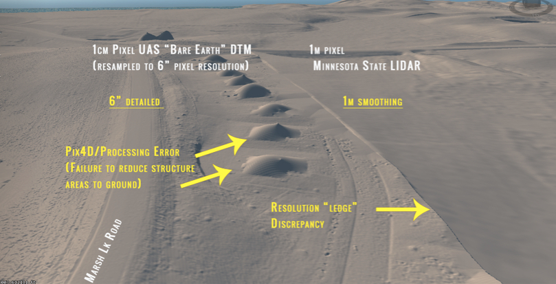 This lidar image of terrain shows topographical variations, comparing the 6-inch high-resolution, detailed terrain variation on the left with the smooth, 1-meter low-resolution image on the right. Yellow text and arrows point out features.