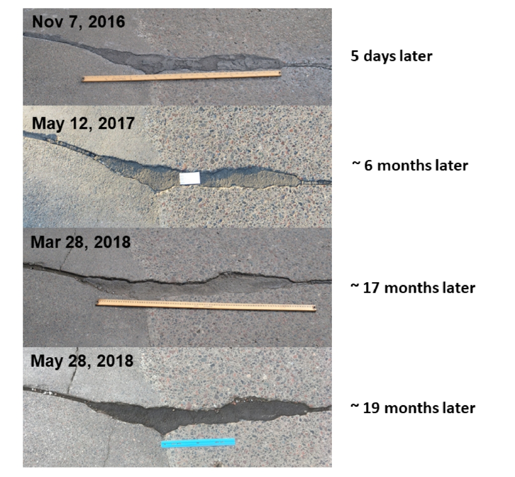 Pictures of a taconite repair after five days, six months, 17 months and 19 months.