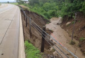A washed out ditch on Highway 169 in Belle Plaine, Minnesota.