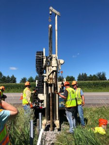 Near the end of the study, workers used a boring machine to take core samples of the ditch check and the filter insert.