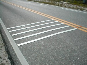 Example design of temporary raised transverse rumble strips that will be used in the study.