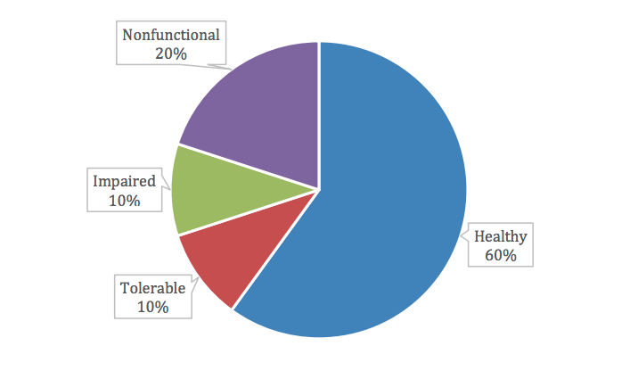 A pie chart shows four levels of functionality for loop detectors: healthy, 60%; tolerable, 10%; impaired, 10%; and nonfunctional, 20%.