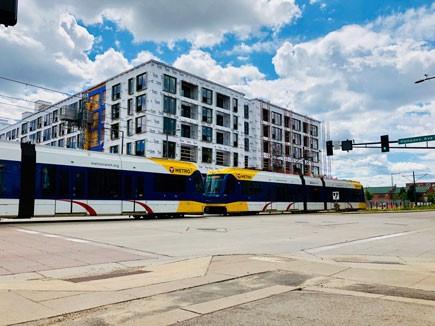 Light rail train in Minneapolis, MN