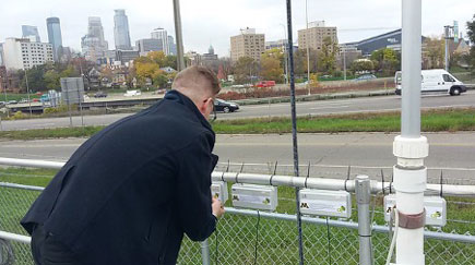 Researchers used small sensors to monitor air quality. Photo: Minnesota Pollution Control Agency