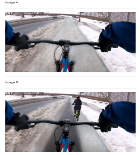 Paired photographs show bike lanes in winter along a roadway from the point of view of the gloved cyclist, looking forward over the handlebars. The upper image shows a bike lane with some snow and no other riders. The lower image shows a lane with a bare pavement path and another cyclist ahead.